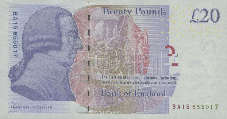 Billet de banque sur lequel figure le profil d'un gentilhomme du 18<sup>e</sup> siècle imprimé à l'encre violette.