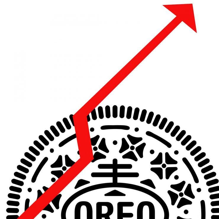 Image d'un biscuit avec une flèche montante.