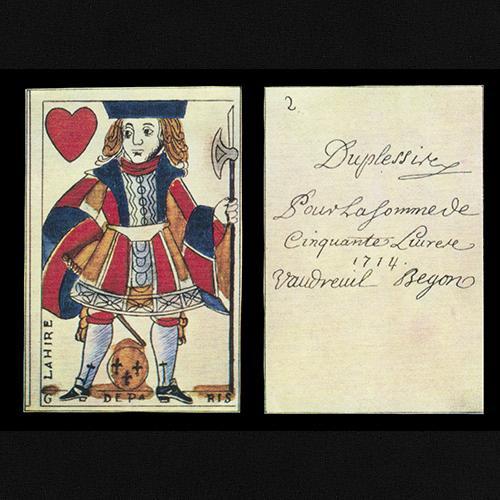 Monnaie de carte illustrée d'un valet de cœur. Au verso figure la description, datant de 1714, de la somme devant être remboursée.
