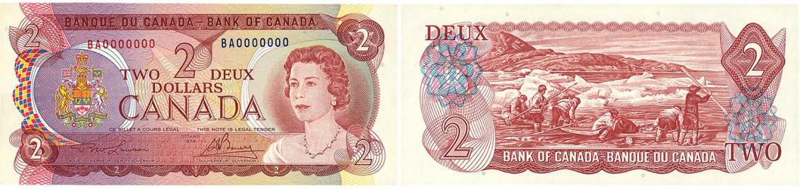 Recto et verso d'un billet canadien de 2dollars. Une gravure représentant des chasseurs dans l'Arctique apparaît au verso.