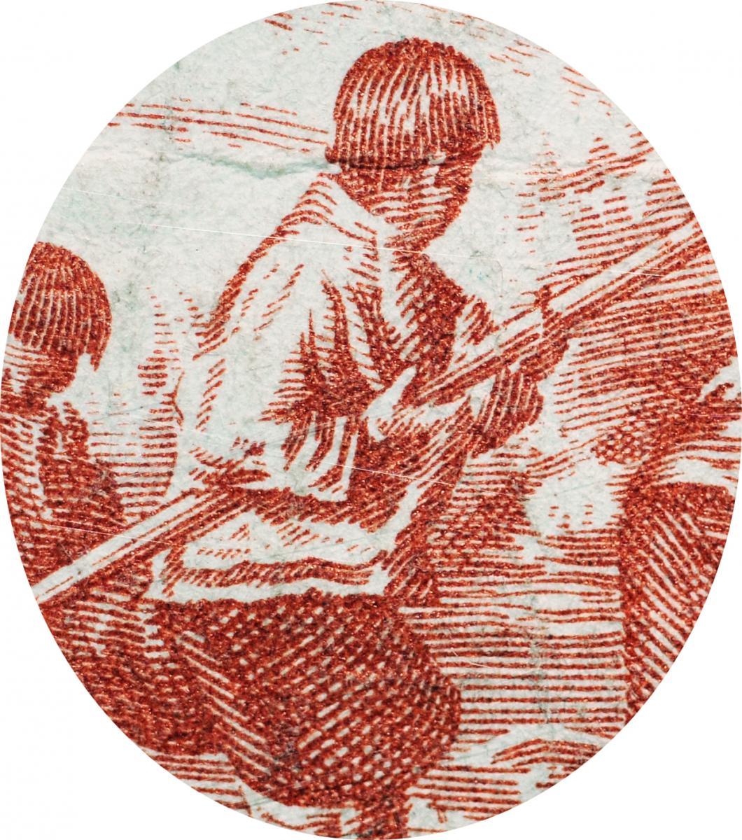 Gravure d'un homme tenant un harpon.