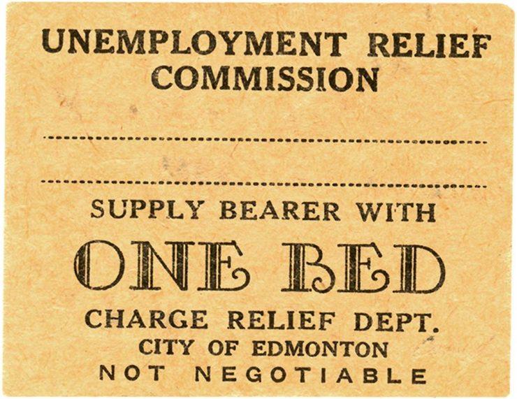 Billet de l'époque de la Grande Dépression donnant droit à une nuit d'hébergement gratuite.