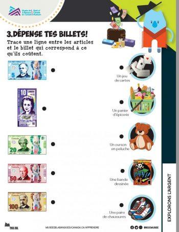 Une fiche de travail sur l'exploration des pièces et des billets de banque à colorier.