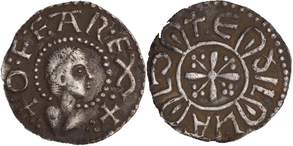 Deux faces d'une pièce frappée grossièrement et ornée de l'image d'un roi rasé de près.