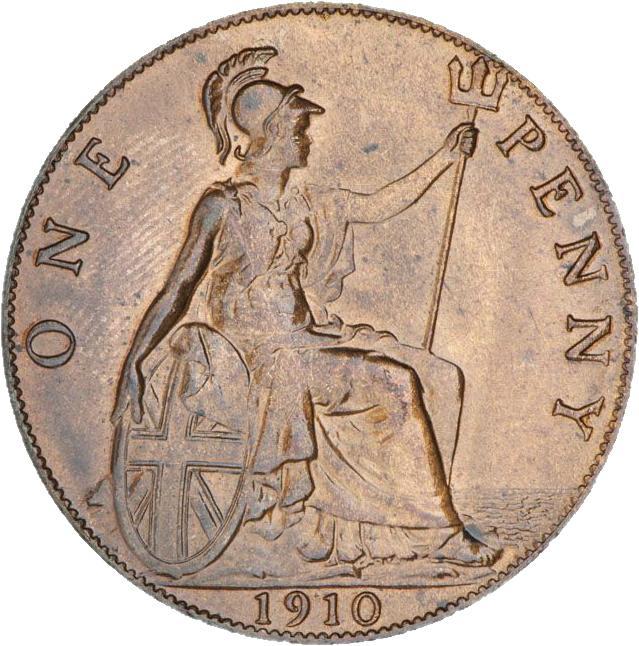 Pièce montrant Britannia assise avec un trident à la main.