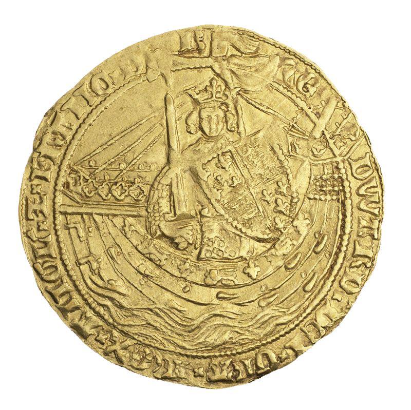Pièce d'or frappée grossièrement à l'effigie d'un roi armé et coiffé d'une couronne à bord d'un navire.