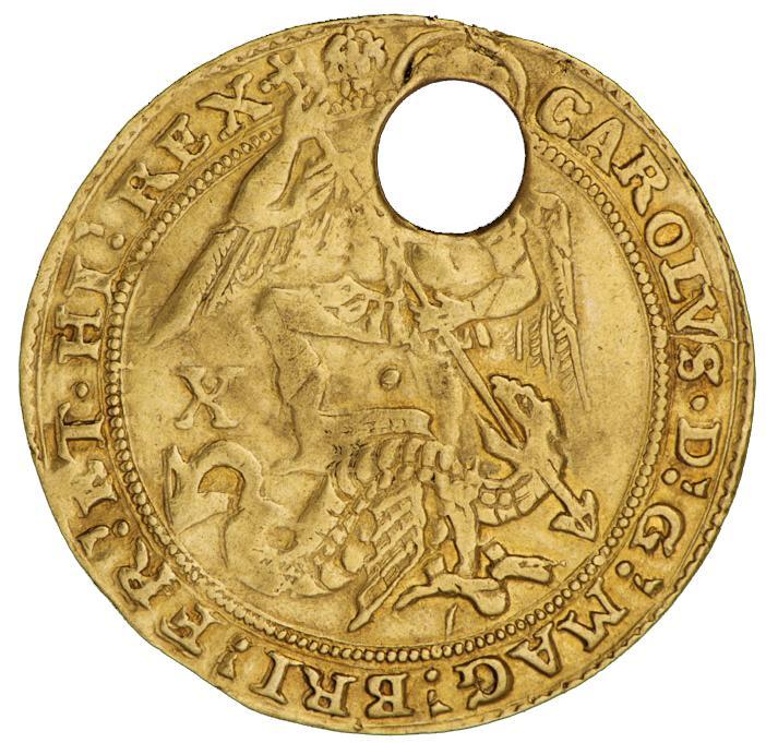 Pièce d'or percée, ornée d'une image d'un ange guerrier tuant un dragon.