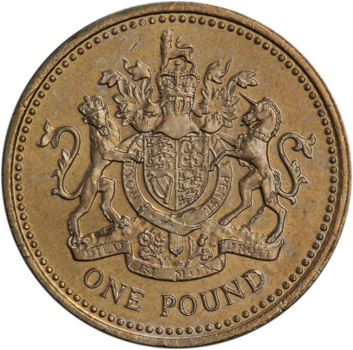 Pièce de couleur dorée, ornée des armoiries du Royaume-Uni avec un lion et une licorne.
