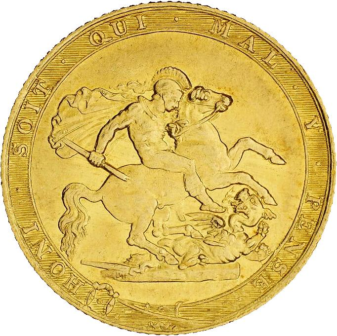 Pièce d'or brillant montrant un ange guerrier qui tue un dragon.