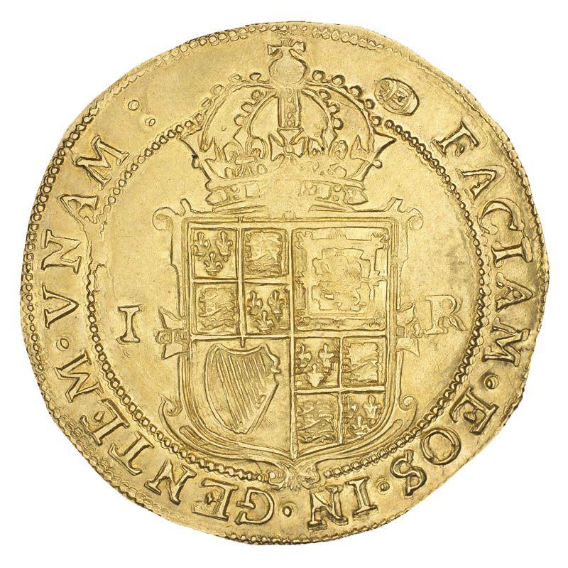 Pièce d'or montrant un bouclier couronné de symboles écossais, anglais et irlandais.