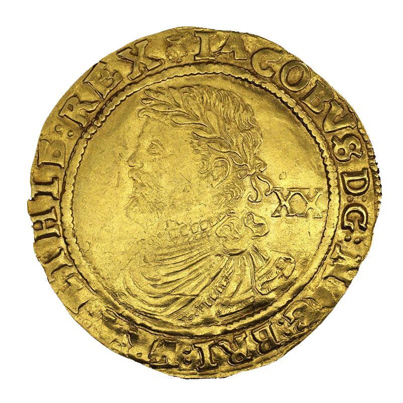 Pièce d'or à l'effigie d'un roi coiffé d'une couronne et portant une couronne de laurier dans les cheveux.