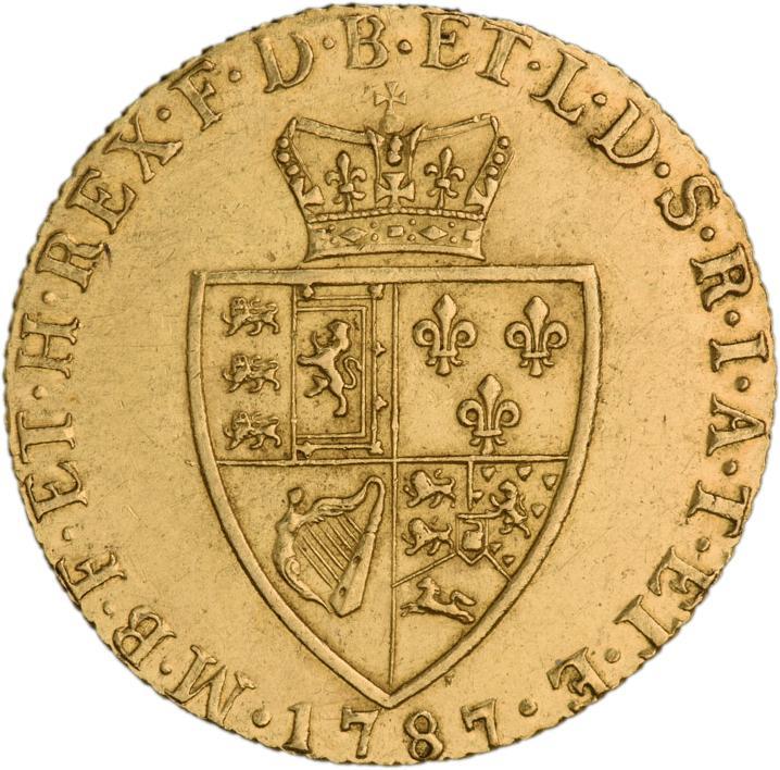 Pièce d'or mat montrant des armoiries britanniques surmontées d'une couronne.