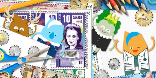 A collage of cartoon characters, paper play money, pencils and scissors.
