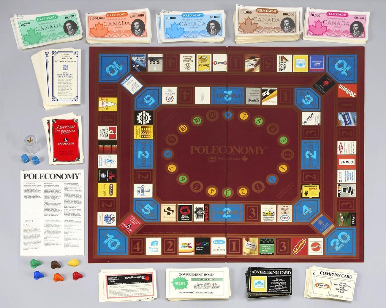 Un jeu de société illustré de vrais logos d'entreprises canadiennes datant des années 1980.