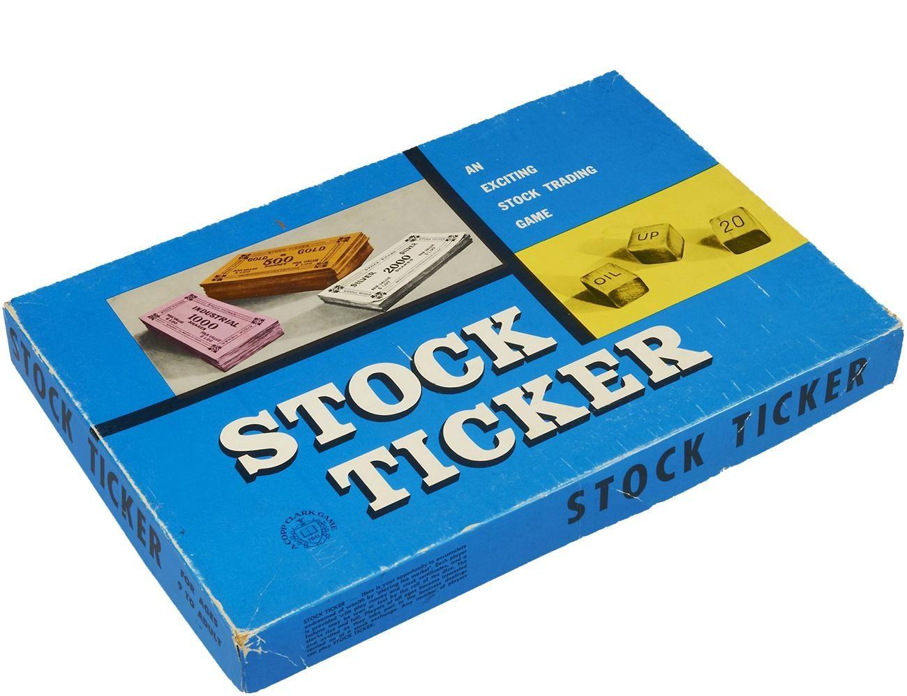 Boîte de jeu de société bleue illustrée d'images de billets de banque et de cartes.