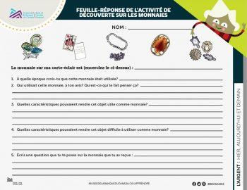 feuille-réponse de l'élève, série de questions et d'images relatives aux premières monnaies ci-dessus