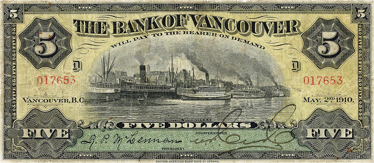 Billet de banque jauni illustré d'un port enfumé, d'usines et de nombreux navires à vapeur