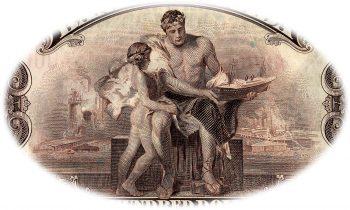 Gravure de billet de banque en style gréco-romain classique représentant un homme et un garçon sur fond d'usines.