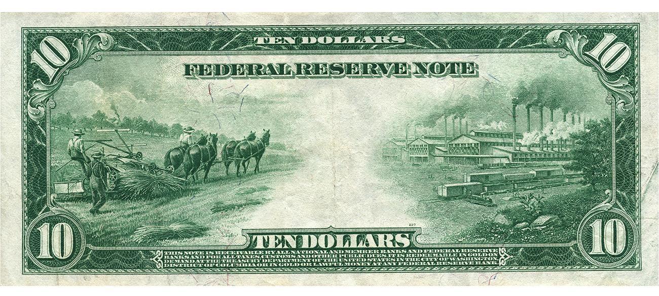 Billet de banque vert représentant des agriculteurs faisant les récoltes à gauche et une usine comptant de nombreuses cheminées fumantes à droite.