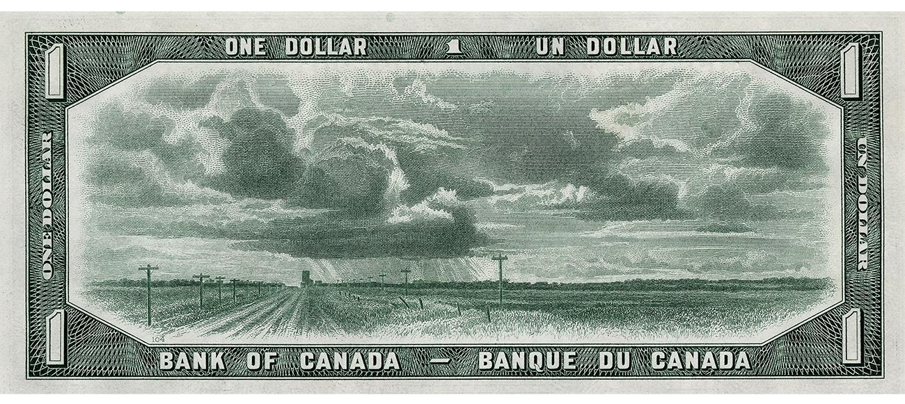 Billet de banque vert représentant une prairie où il y a une route bordée de poteaux de téléphone et de champs sous un ciel ennuagé.