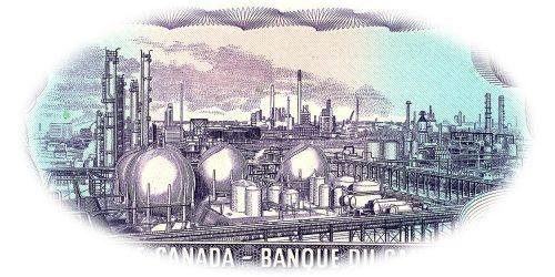 Gravure sur un billet de banque violet représentant un vaste complexe industriel très détaillé de tuyaux, réservoirs et cheminées.