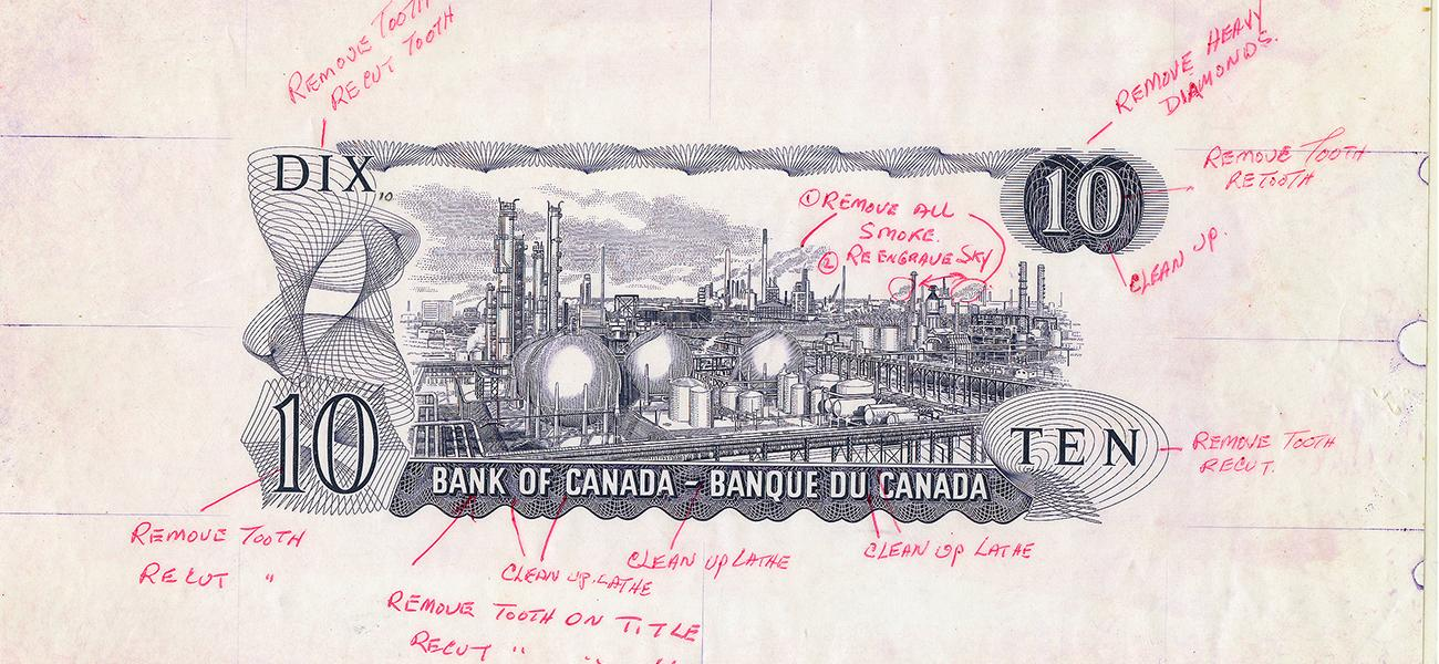 Épreuve du recto d'un billet de banque illustré d'une usine et de ses tuyaux, réservoirs et cheminées, accompagnée de commentaires manuscrits.