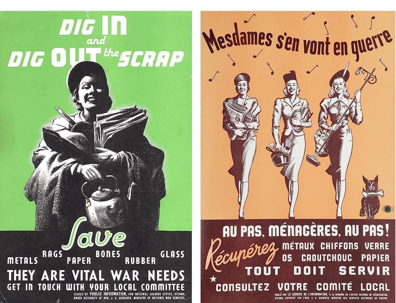 Deux affiches, une en français et l'autre en anglais, représentant des femmes portant de vieux papiers et articles ménagers.