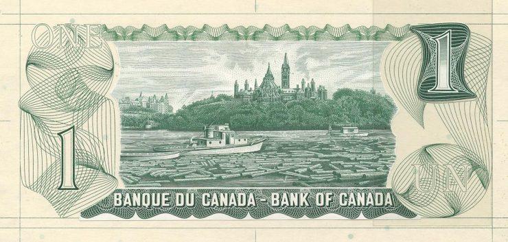 Gravure de billet de banque de couleur verte illustrée de billots et de deux bateaux sur une rivière devant une colline boisée surmontée de tours.