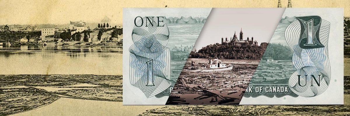 Collage, deux photos, un billet de un dollar et des images de billots dans une rivière