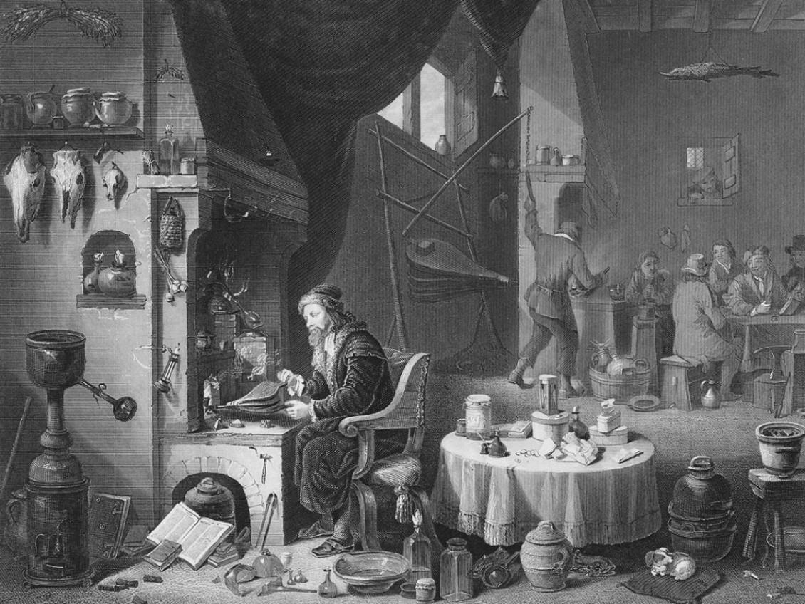 Illustration d'un espace de travail où l'on voit des hommes avec des soufflets, les tables et le sol étant recouverts de bouteilles et d'objets mystérieux.