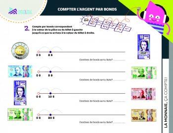 Document, formes, images de pièces et billets du Canada, questions et lignes pour noter les réponses