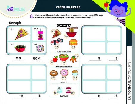 Document, formes, 4 tableaux, images d'aliments et prix.