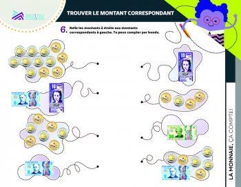 Document, formes, images de différentes combinaisons de pièces et billets du Canada.