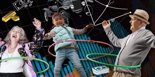 Collage d'images montrant de l'argent, des graphiques et des gens s'amusant avec des hula-hoops.