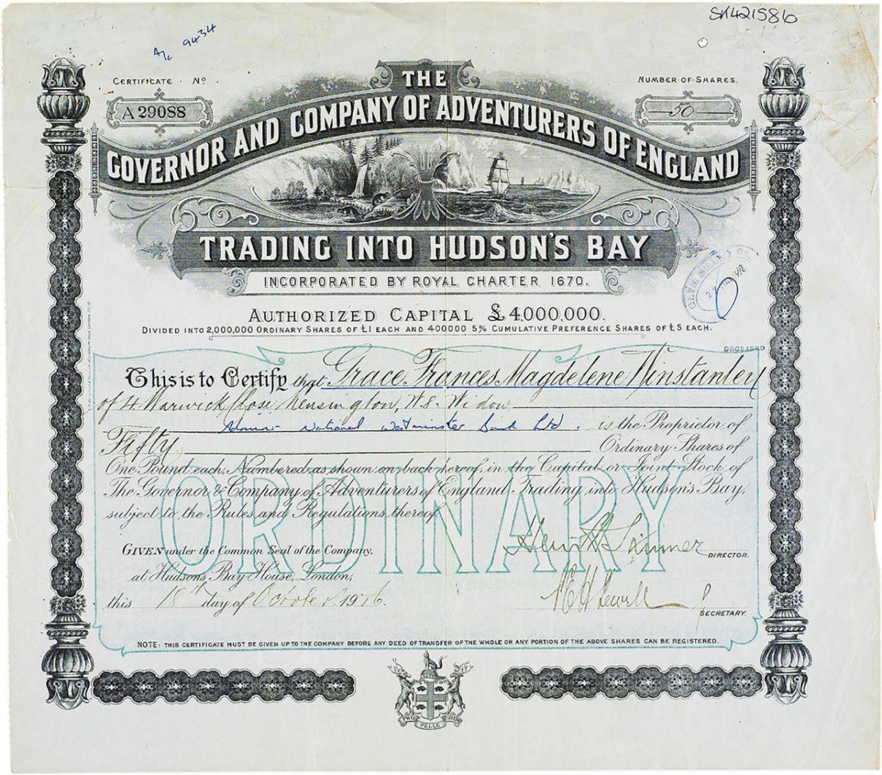 Certificat imprimé à l'encre noire présentant des motifs géométriques complexes et l'image de terres riches et de navires voguant sur les mers arctiques.