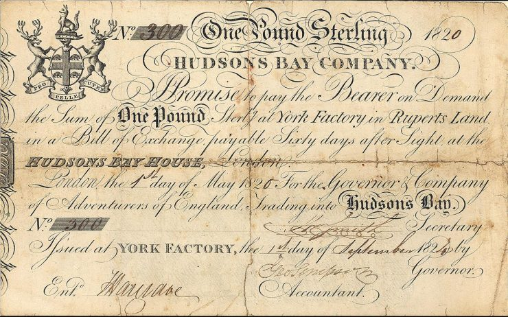 Document jauni, sur lequel figurent plusieurs lignes d'écritures fluides et les armoiries de la Compagnie, qui comprennent deux élans.