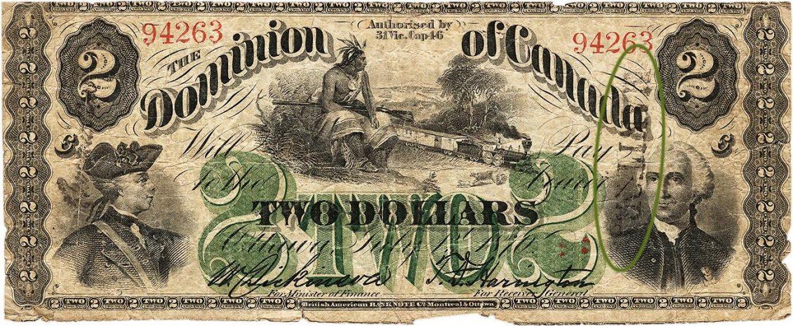Billet de banque orné des images d'un autochtone, de deux généraux du 18e siècle, de motifs géométriques et d'un lettrage élaboré.