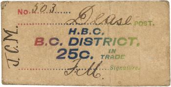Coupon en carton brun sur lequel figurent des lettres multicolores étampées et des écritures manuscrites.