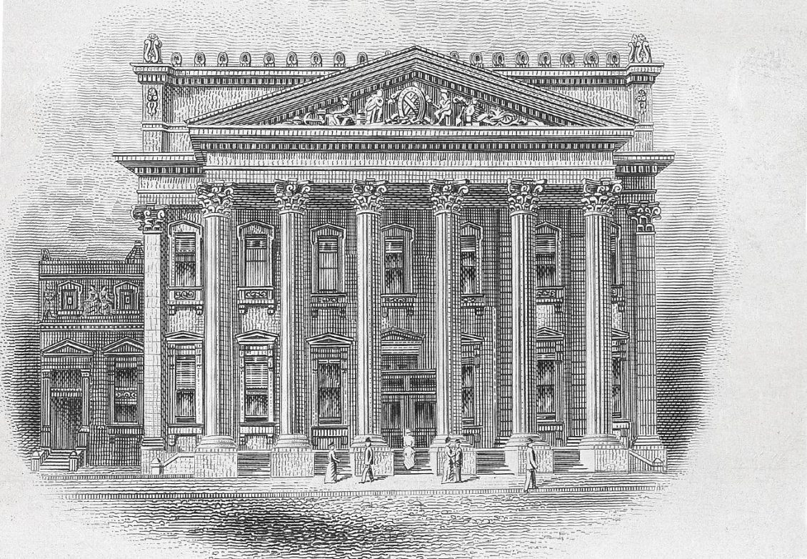 Illustration d'un édifice doté de colonnes de deux étages sous un porche sculptural.