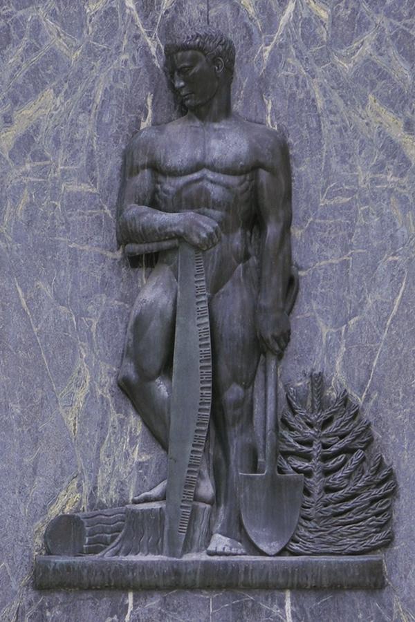 Série de sept images de sculptures de bronze néoclassiques, chacune représentant une figure aux côtés d'objets représentant une industrie.