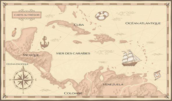 Carte situant la mer des Caraïbes entre l'océan Atlantique et l'océan Pacifique en Amérique centrale.